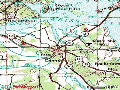 Centre topographic map