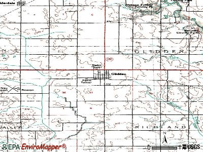 Glidden topographic map