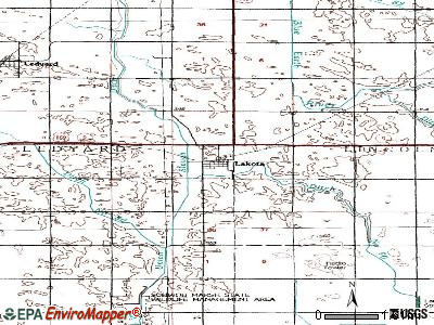 Lakota topographic map
