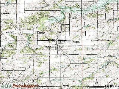 Melcher-Dallas topographic map