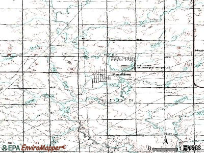 Paullina topographic map