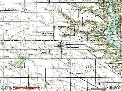 Woodward topographic map