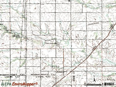 Harveyville topographic map