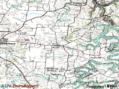 Burgin topographic map