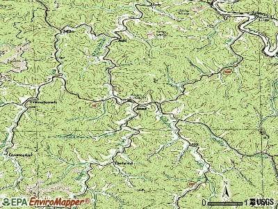 Inez topographic map