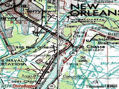 Belle Chasse topographic map