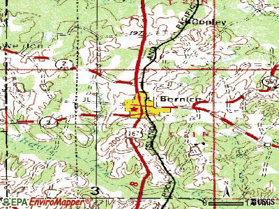 Bernice topographic map
