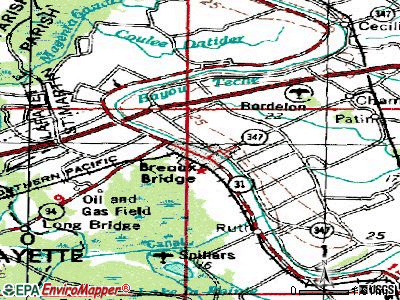Breaux Bridge topographic map