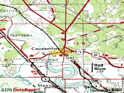 Coushatta topographic map