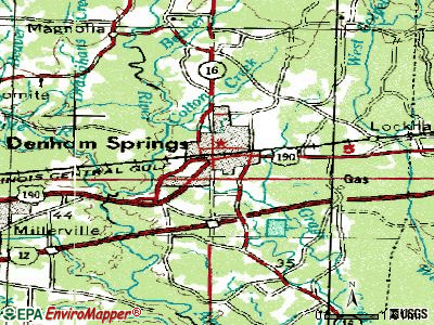 Denham Springs topographic map