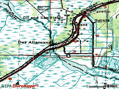 Des Allemands topographic map