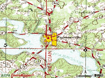 Farmerville topographic map