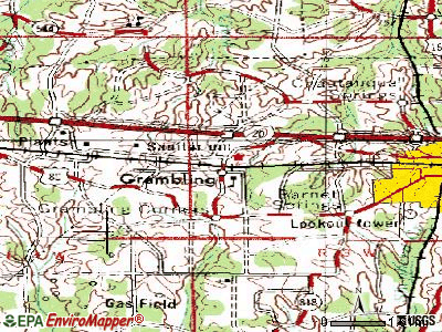Grambling topographic map