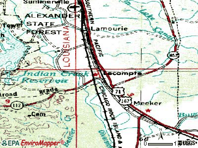Lecompte topographic map
