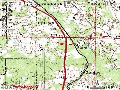 Lillie topographic map