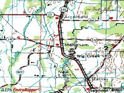 Mangham topographic map
