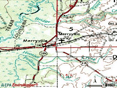 Merryville topographic map