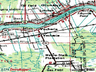 North Vacherie topographic map