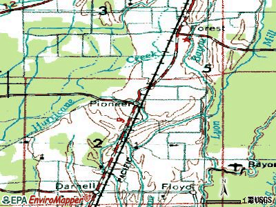 Pioneer topographic map