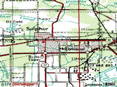Sulphur topographic map