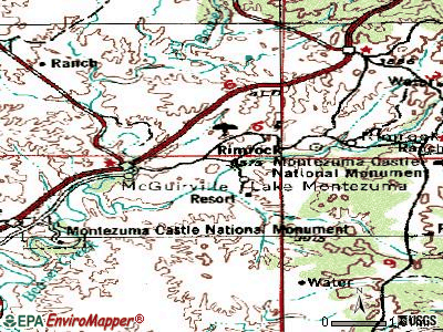 Lake Montezuma topographic map