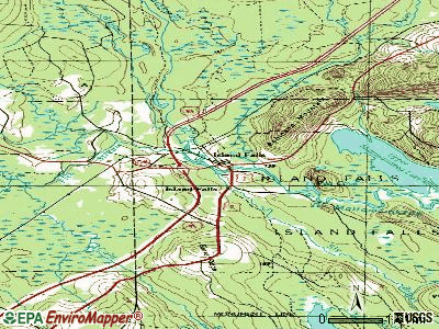 Island Falls topographic map