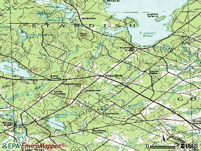 Standish topographic map