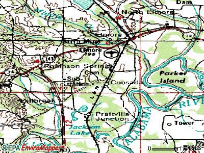 Coosada topographic map