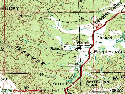 Peeples Valley topographic map