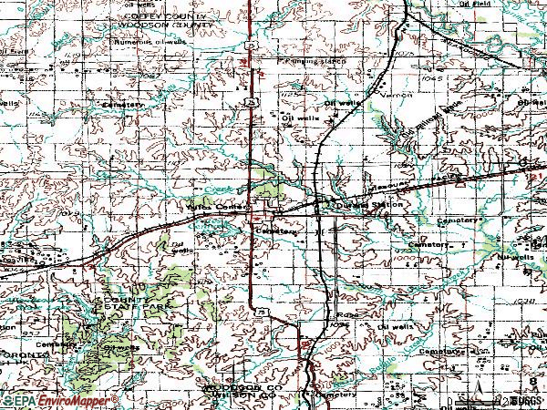 Zip code 66783 topographic map