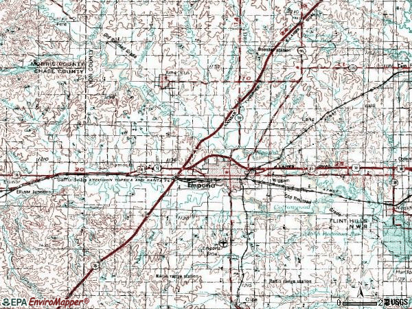 Zip code 66801 topographic map