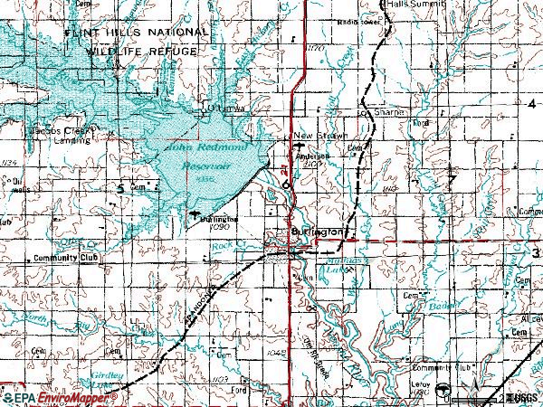 Zip code 66839 topographic map