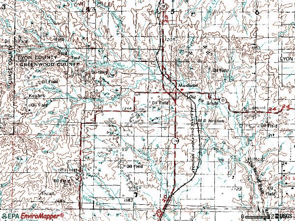 Zip code 66860 topographic map