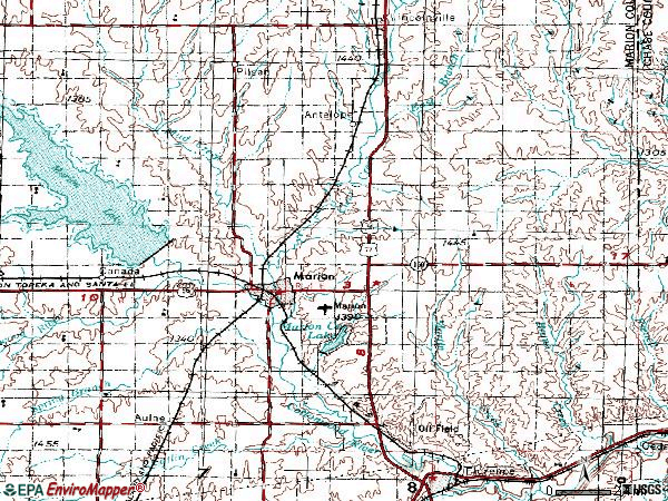 Zip code 66861 topographic map