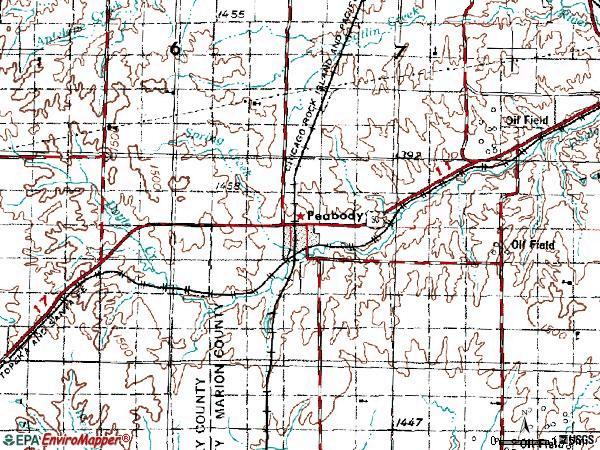 Zip code 66866 topographic map