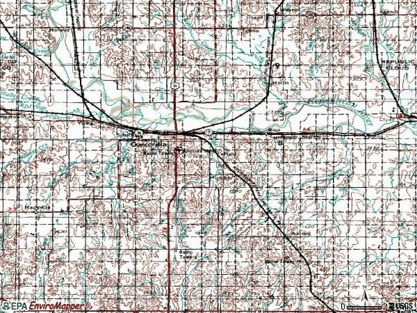 Zip code 66901 topographic map