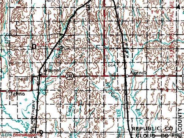 Zip code 66930 topographic map