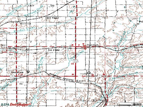 Zip code 67019 topographic map