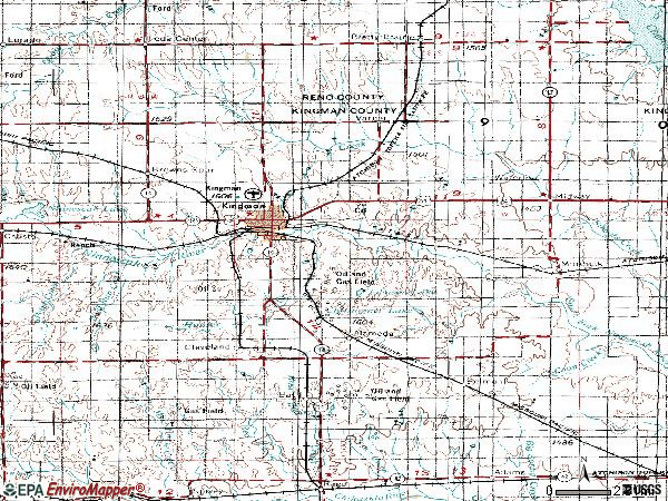 Zip code 67068 topographic map