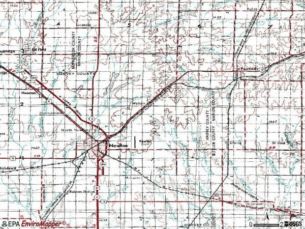 Zip code 67114 topographic map