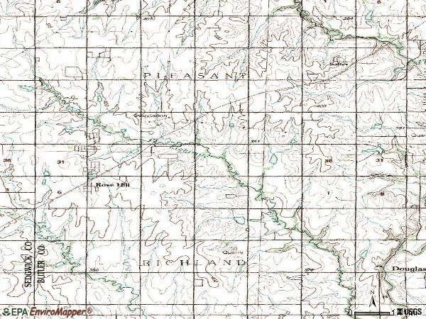 Zip code 67133 topographic map