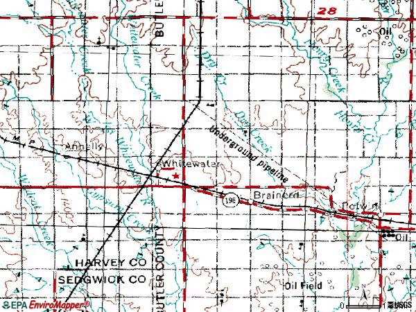 Zip code 67154 topographic map