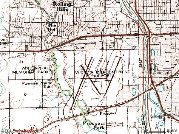 Zip code 67209 topographic map