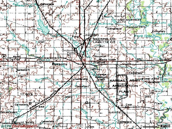Zip code 67357 topographic map