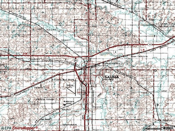 Zip code 67401 topographic map