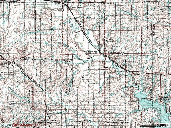 Zip code 67432 topographic map