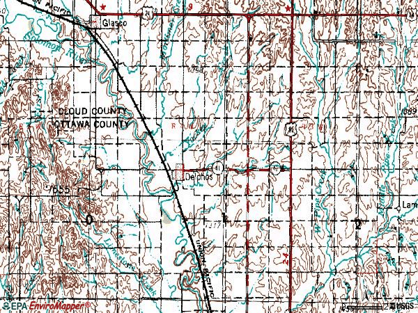 Zip code 67436 topographic map