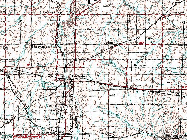 Zip code 67449 topographic map