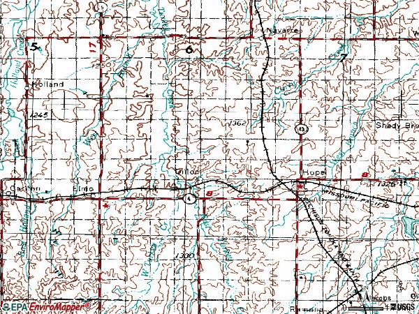 Zip code 67451 topographic map