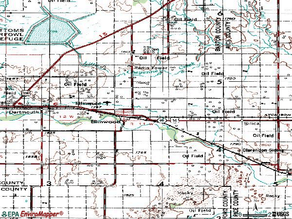 Zip code 67526 topographic map